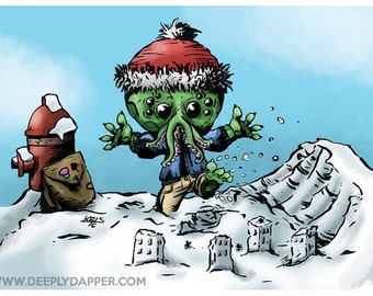 Cthulhu DapperKins Holiday Card - Krampus and Cthulhu's Christmas Collection 2016