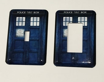 Doctor Who Inspired TARDIS Light Switch Plate - Dr Who Light Switch Cover - Whovian  Decor