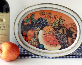 Two-Sided Tin with Fruit Design. Decorative Storage Box. Metal Container. Country French Farmhouse Decor. Vintage Kitchen Display.