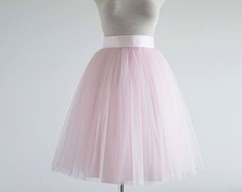 Light pink Tulle skirt. Tea length tulle skirt. Engagement tulle skirt