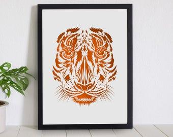 Bengal Paper Cut // Laser Cut Paper Art