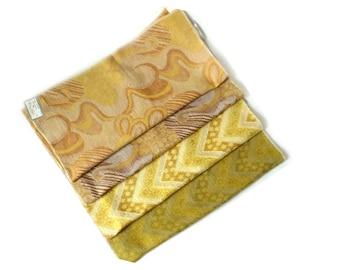 Fabulous Vintage 1970s Retro Mod Fabric Samples ... Yellow Olive Fabricut Pillow Squares, Chevron, Floral, Cotton Blend Woven Textiles