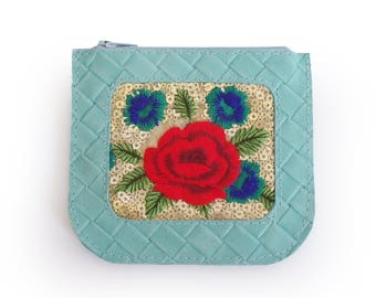 SALE Light blue leather coin purse with flower embroydery