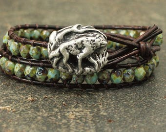 Rustic Leather Wolf Jewelry Silver Turquoise Topaz Wolf Bracelet Unique Double Leather Wrap Bracelet