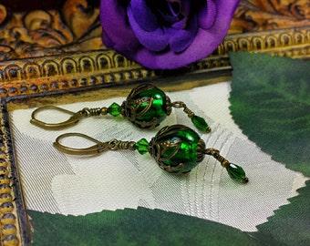 Forest Green Goth Victorian Earrings, Emerald Hunter Green Edwardian Bridal Drops, Antiqued Bronze Filigree, Titanic Temptations 16008