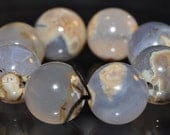 Reserved For Joy---4 Pieces 12mm Ocean & Land~Exceedingly Rare BLUE CHALCEDONY AGATE Round Beads - N1087