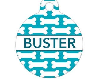 Personalized Pet ID Tag - Buster Bone Pattern Custom Name  Pet Tag, Dog Tag, Cat Tag