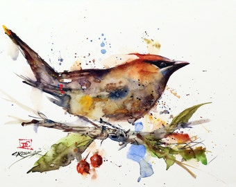 CEDAR WAXWING Watercolor Bird Print, Bird Art Painting by Dean Crouser