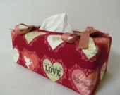 Tissue Box Cover/Hearts x Coral Ribbon
