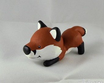 Hand Sculpted Playing Red Fox Derp Figurine