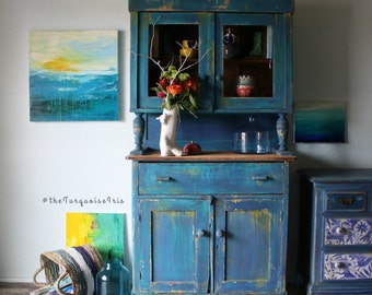 Bohemian Rustic Cabinet / Hutch in Turquoise & Cobalt Coffee / Wine Bar Rustic Bohemian Antique