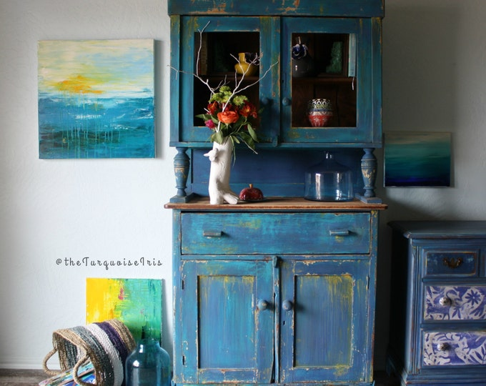 Bohemian Rustic Cabinet / Hutch in Turquoise & Cobalt Coffee / Wine Bar Rustic Bohemian Antique