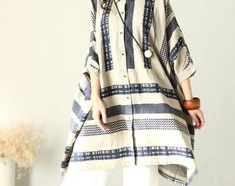 Loose Fitting Linen Shirt Blouse for Women  -beige - Women Clothing
