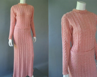 Vintage 70s Crochet Maxi Dress - 1970s Long Sleeve Pink Dress with Belt M