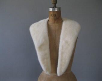 Vintage Winter White Mink Collar - 50s Fur Collar -1950s Platinum Blonde Mink