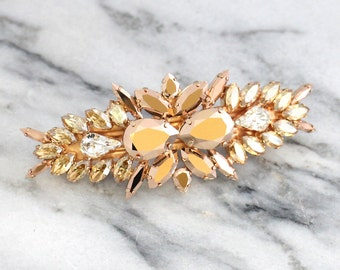 Bridal barrette,Swarovski Hair Comb,Champagne  barrette, Bridal Hair Accessories, Rose Gold barrette, Rose Gold barrette, Bridal Jewelry