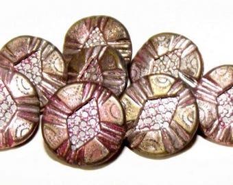 Antique Buttons Metal Button Set Original Pink Tint Screen Centers