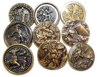Antique Metal Picture Buttons Awesome assortment of Story Buttons!