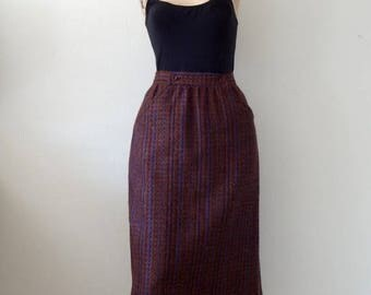 SALE - Wool Tweed Skirt with Side Buttons / vintage fall & winter fashion