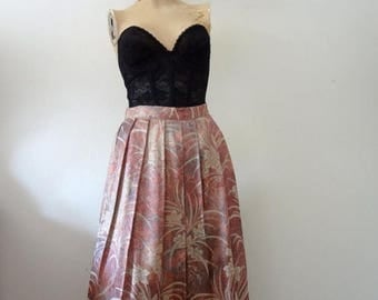 ON SALE 1980s Floral Brocade Skirt / pleated aline party skirt / vintage spring fashion
