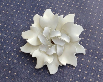 Beautiful large vintage white enamel rose brooch flower brooch