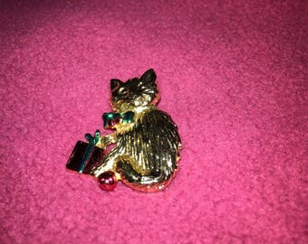 Vintage Kitty Pin with Christmas Package
