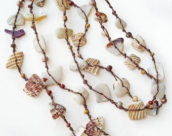 Macrame Shell Necklace, Knotted Shell and Bead, Fiber Jewelry, MOP Carved Birds, Boho Chic Post-Apocalypse Style