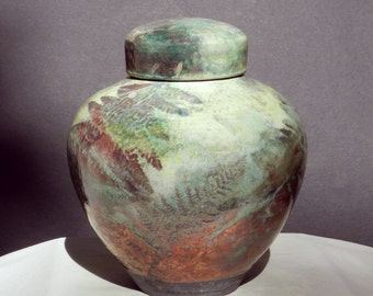 Large Raku Urn, Copper Turquoise Yellow, Handmade USA, decorative Jar Ceramic Memorial Grouping Home and LIving Decor Oriental Woodland Art