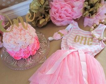 Birthday Tutu Dress, Choose any number, Birthday Gold and Pink First Birthday Dress
