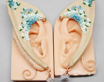 Blue Flower Elf Ears, Light Skin Tone Elf Ears, Elf Ear Wraps, Elf Ear Cuffs, Blue Ombre Flowers, Crystal Ear Cuffs