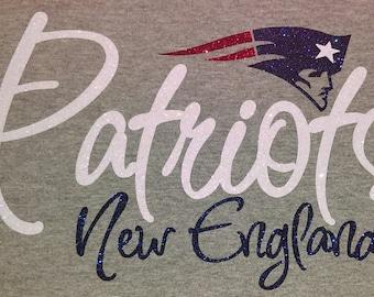New England Patriots Women's Glitter Top