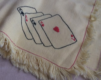 Yellow Tablecloth Playing Card Tablecloth Tablerunner Vintage Poker Night