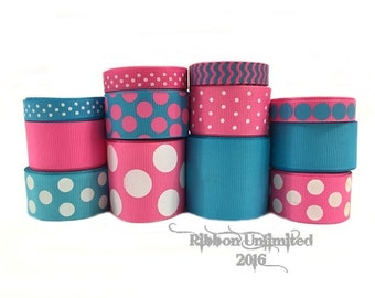 24 Yds COTTON CANDY  wholesale grosgrain ribbon collection   Low Shipping Cost