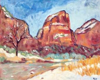 Zion Winter Landscape - Painting, Original Oil, Oil Painting, Zion National Park, Virgin River, Snow, Winter, Red cliffs, Angels Landing