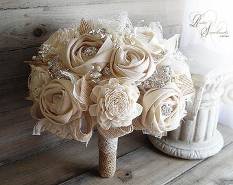 Ready to Ship ~ FREE Priority Mail Shipping! ~~~ Rustic Cotton Rose & Sola Flower Bridal Bouquet with Burlap, Lace, Rhinestones and Pearls.