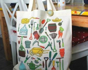 Gardeners tote bag gardening bag vintage garden tools