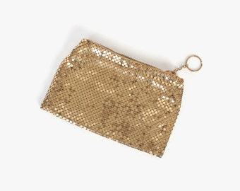 Vintage 40s WHITING & DAVIS Purse / 1940s Shiny Gold Metal Mesh Evening Bag Wallet