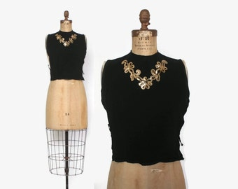 Vintage 40s Sequin DICKIE / 1940s Metallic Gold & Black Rayon Cocktail Faux Blouse