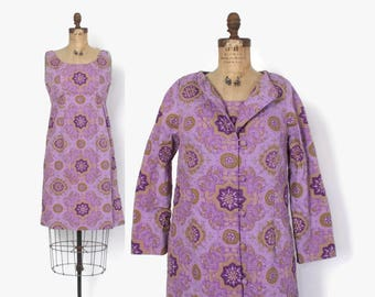 Vintage 60s DRESS SET / 1960s Purple Cotton Thai Sun Dress & Quilted Jacket Set M