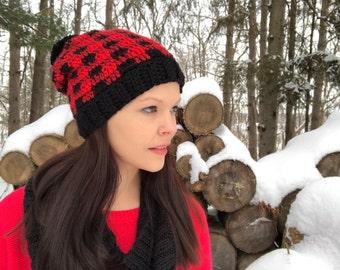 Plaid crochet hat, fits teens to women, red and black plaid, buffalo plaid, pom pom, slouchy hat, Winter Beanie, Photo Prop