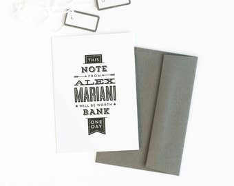 Personalized Stationery Set, Personalized Note Cards for Him, Typography Cards // WORTH BANK