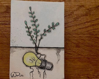 "Mini Original Painting- ""Where the Lost Things Grow 3"" (Lightbulb)"