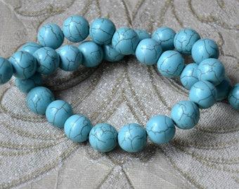 Single 14mm Turquoise round stone beads,turquoise nugget loose beads,turquoise nugget gemstone beads,turquoise beads