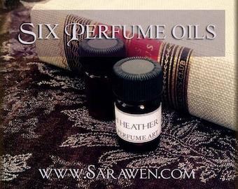 SIX Perfume Oils / 2ml Perfumes / Choose Six Scents / Vegan perfume oil / Handcrafted Perfume