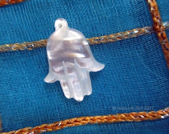Hand of Fatima Hamsa Hand Amulet in Carved Mother of Pearl Shell 18mm Jewelry and Beading Supply Item