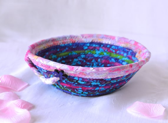 Handmade Purple Basket, Purple Boho Basket, Violet and Pink Ring Basket, Decorative Grape and Pink Bowl, Girl Ring Holder Tray