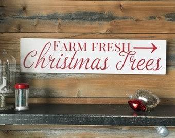 Rustic Christmas Tree Solid Wood Sign, Farm Fresh Christmas Trees, Farmhouse Christmas, Christmas Tree Sign, Rustic Christmas