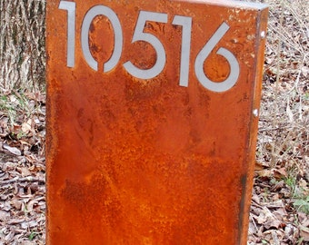CUSTOM Modernist Tower House Number Yard Sign