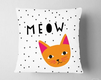Kitty Cat Pillow, Black White Hearts Girl Nursery Decor, Meow Kitten Decor, Baby Nursery Scandinavian Decor, Cute Cat Decor Pet Girl Room