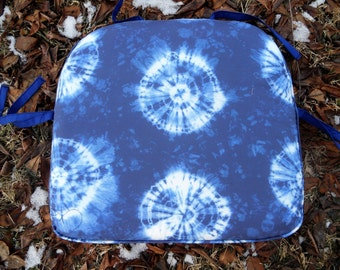 Shibori 600 Indigo, Spoonflower Fabric Chair Pad- 2 inch foam - Made To Fit Chair Pad -  Black and White - must fit within 22 L X 22 W.